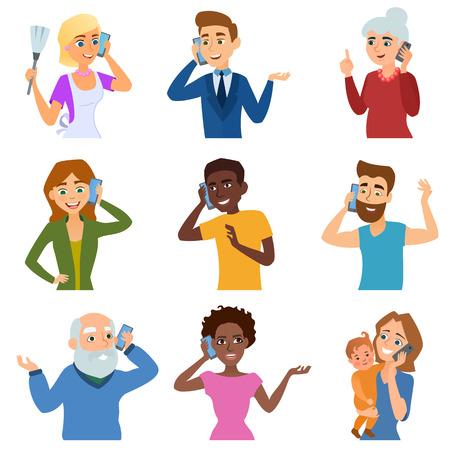 La gente que habla del conjunto de caracteres teléfono y diferentes personas que hablan el teléfono. La comunicación telefónica personas estilo de vida. Conjunto de llamadas de personas adultas negocio móvil que hablan Ilustración del teléfono vector de caracteres
