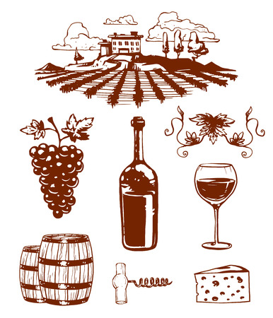 wine growing: Vinery farm and vinery grape agriculture. Vinery agriculture working beverage. Traditional vinery farm production with grape press and red wine bottle line icons collection nature vector illustration. Illustration