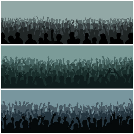 concert crowd: Concert crowd silhouette large group people raising hands. Hand silhouettes in air fans concert. Audience with hands silhouette raised music festival and concert streaming down from above stage vector Illustration