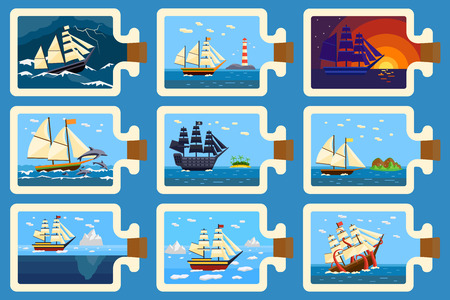 souvenir: Ships in bottle hobby and miniature ships in bottle. Ships in bottle miniature souvenir nautical hobby. Glass bottle with ship inside miniature boat sea travel model vector illustration.