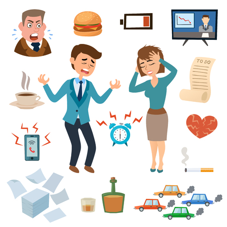 stressed businessman: Stress people adult sad and problem stressed people. Stress people frustration overworked worried. Stress people pressure workplace tired unhappy adult sad problem frustration set vector illustration.