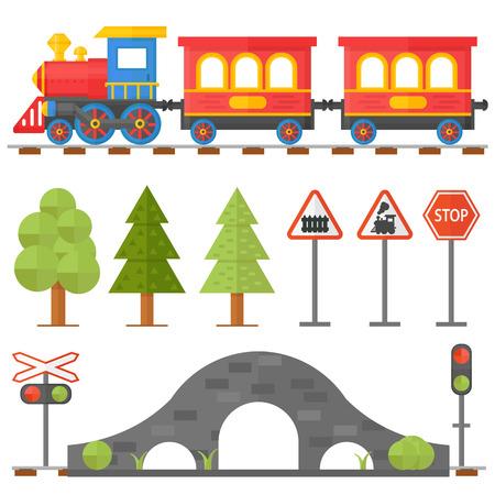 Railroad chemin de la circulation et de train de jouet de dessin animé. Toy train, train transport ferroviaire. concept de chemin de fer réglé avec la gare ferroviaire intendant train de voyageurs jouet icônes plates illustration vectorielle.