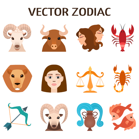 astrology signs: Set of zodiac signs, stylized icons of zodiac signs, horoscope symbols astrology mythology design astronomy collection. Zodiac signs colorful silhouettes horoscope astrology set vector illustration.