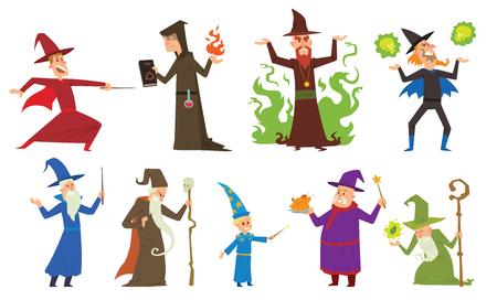 brujas caricatura: Magos y hechiceros imaginación, cosa que los magos de rendimiento humano y misterio magos espectáculo. Grupo de magos y hechiceros ilusión muestran la imaginación anciano, un carácter de entrega de vectores.