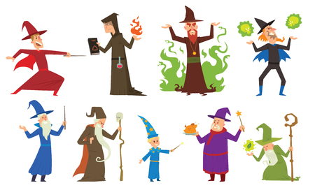Magicians and wizards imagination, wich human performance magicians and mystery wizards show. Group of magicians and wizards illusion show old man imagination, performance character vector. Illustration
