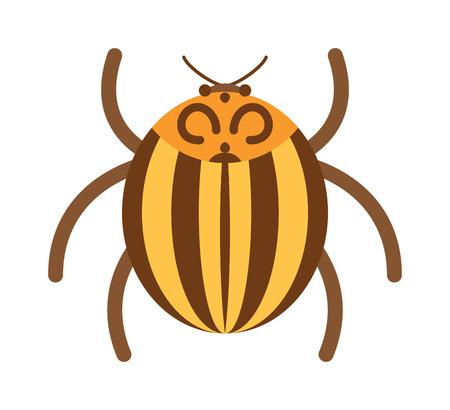 Käfer flach Insekt, Fehler im Cartoon-Stil Vektor illustreation. Bug isoliert. Bug-Symbol flachen Stil. Bug Insekt. Cartoon Bug Goldfarbe
