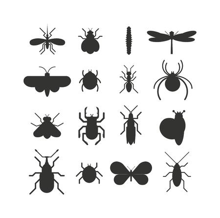 insecto: Iconos del insecto establecer plano la silueta de negro sobre fondo blanco. Insectos iconos planos ilustración vectorial. Naturaleza insectos voladores aislados iconos. Mariquita, mariposa, escarabajo vector hormiga. insectos vectores