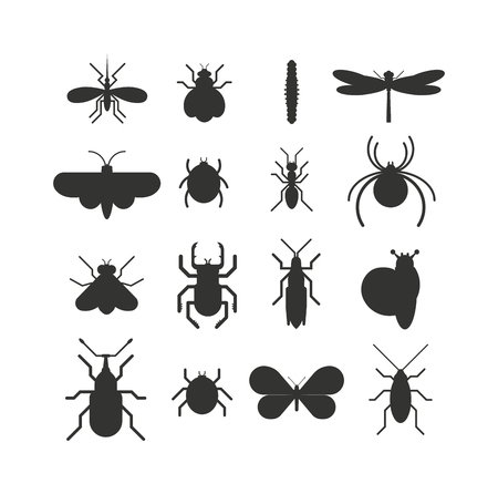 Insect icons black silhouette flat set isolated on white background. Insects flat icons vector illustration. Nature flying insects isolated icons. Ladybird, butterfly, beetle vector ant. Vector insects Illustration