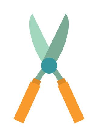 old tools: Gardening scissors hand work and steel gardening scissors equipment. Gardening scissors pruning sharp handle. Garden hobby cutter equipment plant. Gardening scissor metal cut tool equipment vector. Illustration