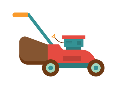 push mower: Machine lawn mower technology garden equipment tools, metal lawn mower colorful machine. Lawn mower farming wooden construction trowel. Gardening lawn mower groundworks tool machine technology vector.
