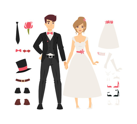 cartoon bouquet: Wedding couple people vector illustration. Wedding couple isolated on white background. Wedding couple vector icon illustration. Wedding couple isolated vector. Wedding couple silhouette