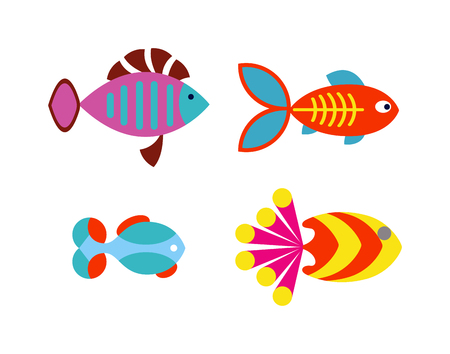 marine aquarium: Underwater aquarium fish and marine aquarium fish. Tropical wildlife aquarium fish, colorful ocean green exotic fish. Aquatic fish wildlife aquarium underwater nature animal vector. Illustration