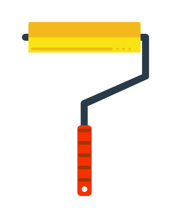 paintroller: Paint roller icon flat vector illustration. Some roller icon vector isolated on white background. Paint flat style  roller icon work tool.