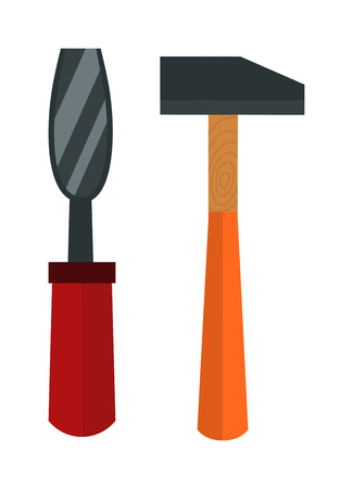 carver: Set of wood processing tools hand equipment cartoon vector illustration. Illustration