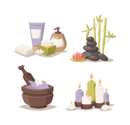 beauty treatment: Natural soap, lavender bath salt and  hygiene bath salt items for bath spa. Bath lavender salt aromatherapy organic. Lavender salt in bowl bath beauty treatment spa and wellness organic therapy vector Illustration