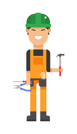 fixing: Serviceman builder professional and serviceman worker maintenance repair. Service man occupation fixing mechanic worker. Repair serviceman repair cartoon character vector. Worker man icon Illustration