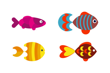aquatic: Underwater aquarium fish and marine aquarium fish. Tropical wildlife aquarium fish, colorful ocean green exotic fish. Aquatic fish wildlife aquarium underwater nature animal vector. Illustration
