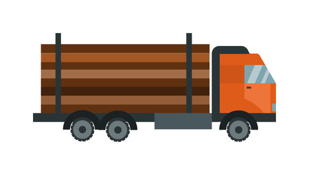 lumber: Timber wood truck vector. Timber wood truck illustration. Timber truck isolated on white. Timber truck icon. Timber wood truck flat style. Timber truck silhouette. Timber truck auto transport. Transportation timber truck