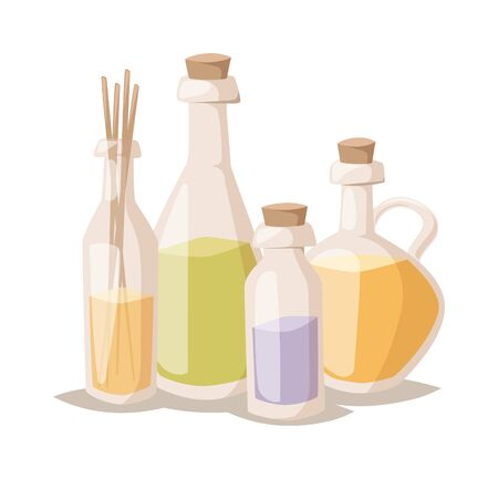 bath treatment: Natural spa oil bottle, lavender oil salt and  hygiene bath oil items for bath spa. Bath lavender oil aromatherapy organic. Lavender oil bottle in bowl bath beauty treatment spa and wellness organic therapy vector