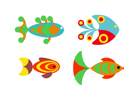 aquarium: Underwater aquarium fish and marine aquarium fish. Tropical wildlife aquarium fish, colorful ocean green exotic fish. Aquatic fish wildlife aquarium underwater nature animal vector. Illustration