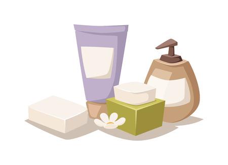 bath treatment: Natural soap, lavender bath salt and  hygiene bath salt items for bath spa. Bath lavender salt aromatherapy organic. Lavender salt in bowl bath beauty treatment spa and wellness organic therapy vector Illustration
