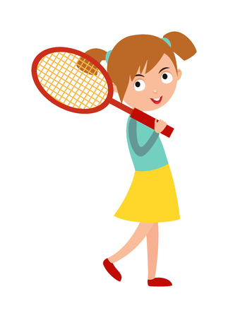 good looking: Sport tennis player and athletic tennis player with racket. Tennis player health racket sport leisure. Good looking tennis player prepared for active game, action sport competition cartoon vector. Illustration