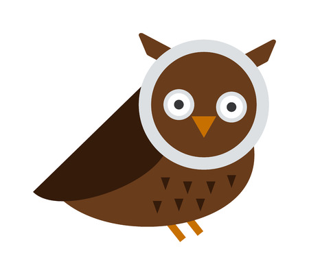 Owl wild bird and nature cartoon owl. Owl blue flat bird character predator flying animal. Great horned Owl, bubo virginianus subarcticus flat cartoon wildlife nature bird vector illustration.