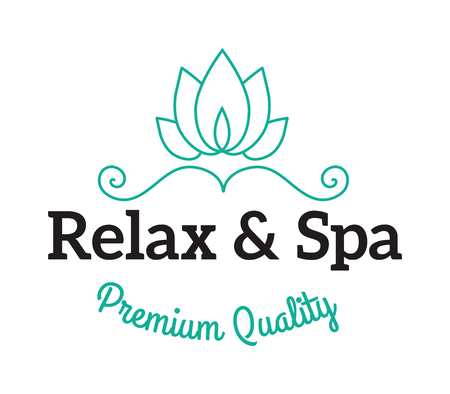 massage symbol: Spa logo lotus wellness salon and business spa logo. Business spa logo massage healthy design template concept. SPA logos vector typography wellness label natural candles design template. Illustration