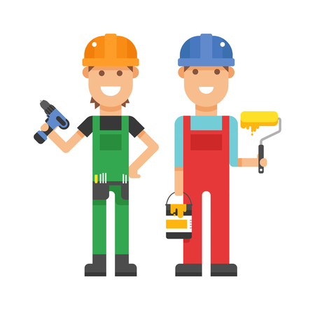 profession: Workers people building team and group workers people service. Profession engineering workers people. Set of professional workers people building team in helmets builders flat vector illustration. Illustration