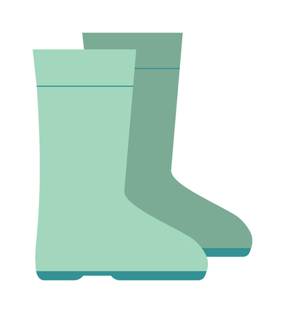 footware: Rain boots green color vector illustration isolated on white background. Green rubber rain boots. Rain boots flat cartoon vector. Rubber boots footwear waterproof. Rain boots icon Illustration