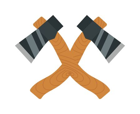 cartoon axe: Axe logo steel isolated and sharp axe cartoon weapon icon isolated on white and wooden axe cartoon flat icon of handle wood work equipment vector illustration. Lumberjack axe Illustration