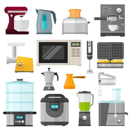 Electrodomésticos aplicaciones de cocción de diseño y electrodomésticos de cocina equipo. estableció hogar, electrodomésticos de cocina. Inicio de electrónica de aparatos elementos de la infografía plantilla vector de concepto. Ilustración de vector