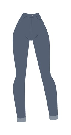 folded clothes: Elegant cotton womens jeans and classic womens blue jeans. Female fabric clothes and vintage womens jeans casual pants. Blue denim womens jeans glamour clothing style vector illustration. Illustration