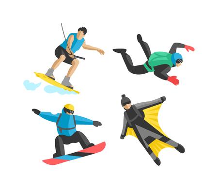 la gente del deporte del vector extremas. Parapente, wakeboard, snowboard, eje de balancín, tablas de snowboard, flybord, parkour, extremo, vuelo, hombre, palo, acrobacias, aéreo, skysurfing, deporte extremo traje de alas