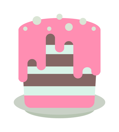 brownie: Pie isolated with fruits and chocolate pie isolated. Wedding or birthday cake sweet dessert homemade pie. Chocolate cream brownie cake topped pie isolated with white slice and cream flowers decorated vector.