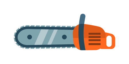 carpentry tools: Hand saw chainsaw flat vector isolated on white background. Saw wood processing tool. Flat hand chainsaw tool, chainsaw equipment. Some chainsaw icon design. Chainsaw vector, chainsaw icon