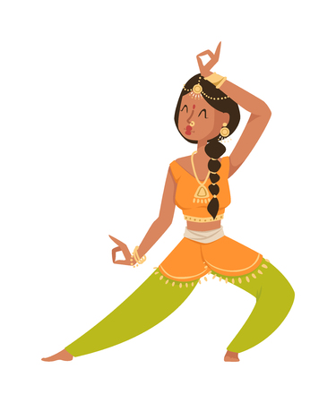 bollywood: Indian dancer silhouette and indian cartoon dancer. Indian girl dancing show, dancer party asian movie dress costume. Ethnic indian costume. Indian dancer bollywood traditional party culture vector.