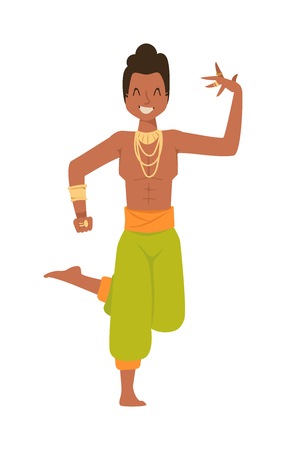 bollywood: Indian dancer silhouette and indian cartoon dancer. Indian man dancing show, dancer party asian movie dress costume. Ethnic indian costume. Indian dancer bollywood traditional party culture vector.