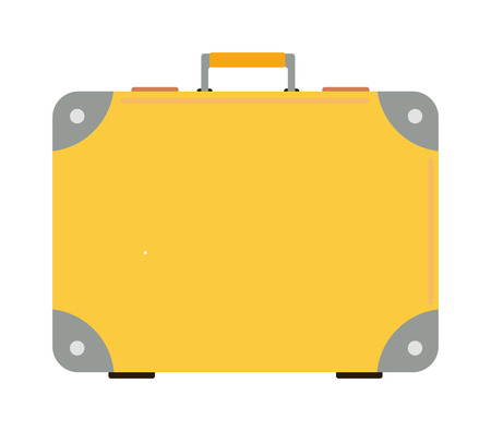 packing suitcase: Travel tourism yellow bag and vacation handle travel yellow bag. Travel bag leather big packing and voyage big yellow bag destination. Travel yellow bag on wheels. Journey suitcase travel bag trip baggage vacation vector. Illustration