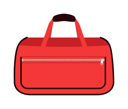 packing suitcase: Travel tourism fashion red bag and vacation handle travel red bag. Travel bag leather big packing and voyage big bag destination. Travel red fashion bag on wheels. Journey suitcase travel bag trip baggage vacation vector.