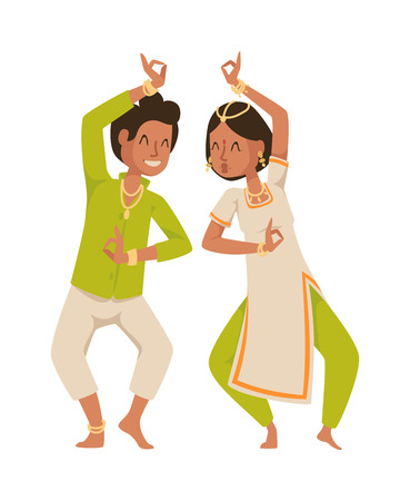 bollywood: Indian dancer silhouette and indian cartoon dancer. Indian couple dancing show, dancer party asian movie dress costume. Ethnic indian costume. Indian dancer bollywood traditional party culture vector. Indian couple Illustration