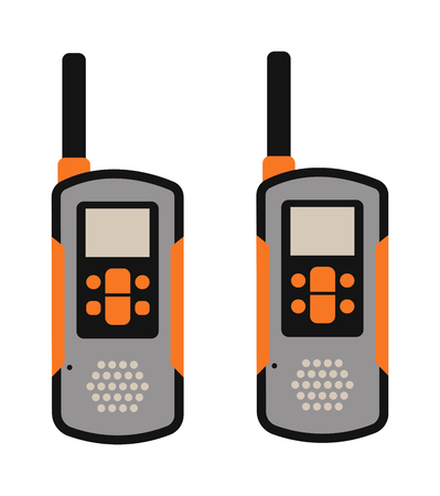 simplex: Portable radio transmitter on a white background vector illustration. Portable radio tool vector. Portable radio station icons. Radio signal, radio talk tools. Phone, radio, remote control. Sport