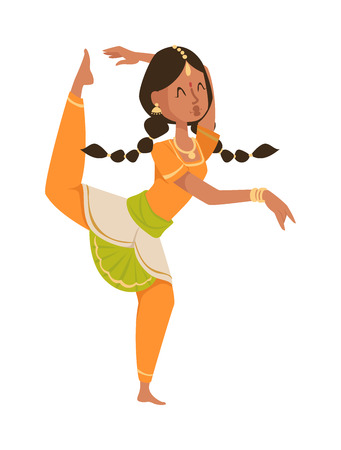 bollywood: Indian dancer silhouette and indian cartoon dancer. Indian girl dancing show, dancer party asian movie dress costume. Ethnic indian costume. Indian dancer bollywood traditional party culture vector. Indian woman Illustration