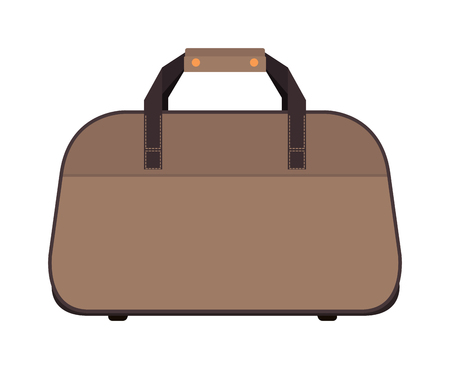 packing suitcase: Travel tourism fashion bag and vacation handle travel bag. Travel bag leather big packing and voyage big bag destination. Travel fashion bag on wheels. Journey suitcase travel bag trip baggage vacation vector.
