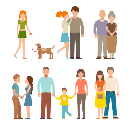 child and dog: People happy couple cartoon and relationship people lifestyle couple cartoon vector. People couple relaxed cartoon vector illustration set. People couple vector. People couple isolated. People couple icons