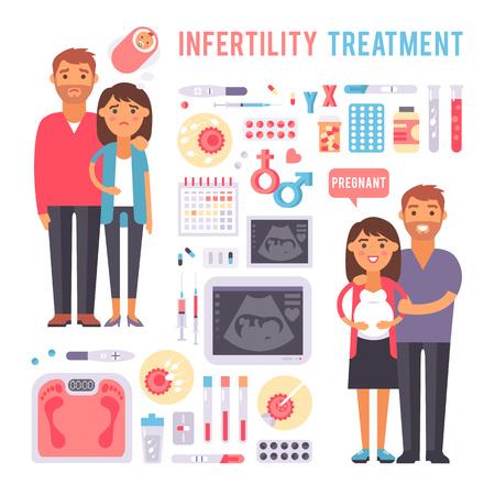 Problemas en el embarazo infertilidad y problemas durante el embarazo médicos. El embarazo de maternidad infertilidad. Muestras del vector del embarazo infertilidad problemas de tratamiento de los síntomas de la fertilización procesos de infografía. Foto de archivo - 54833298