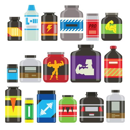 power food: Sports nutrition food icons in flat style detailed vector illustration. Sports food nutrition healthy food and sports nutrition fitness diet. Sports nutrition food bodybuilding proteine power drink. Fresh protein. Sport food vector