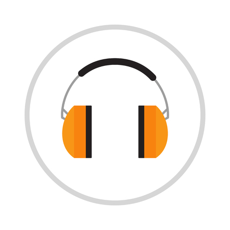 muff: Protective ear muffs isolated on a white background. Ear protection, headphones icon. Headphones yellow ear protection. Ear protection work industry . Yellow headphones .