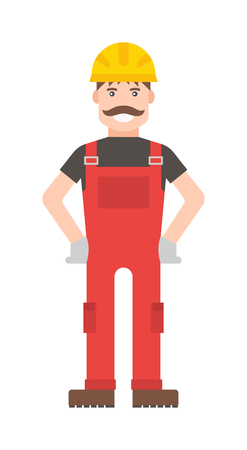 young worker: Cartoon worker character illustration. Smart worker cartoon character illustration. Cartoon worker professional man with a mustache in a yellow helmet and in a red suit. Cartoon worker.