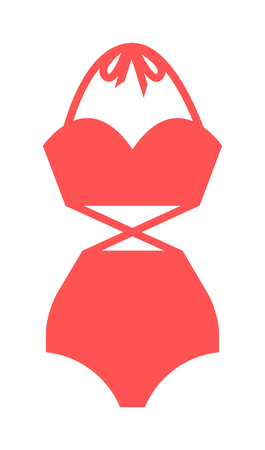 swimsuit: Flat swimsuit isolated illustration. Flat icon and mobile application red swimsuit. Woman swimwear red swimsuits flat icon isolated illustration. Flat swimsuit bikini design.